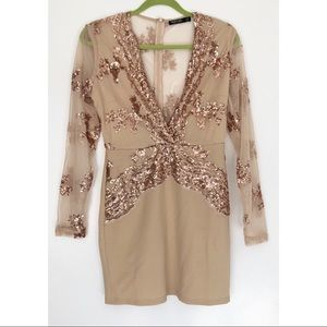 Nasty Gal Nude Low Cut Dress w/ Rose Gold Sequins